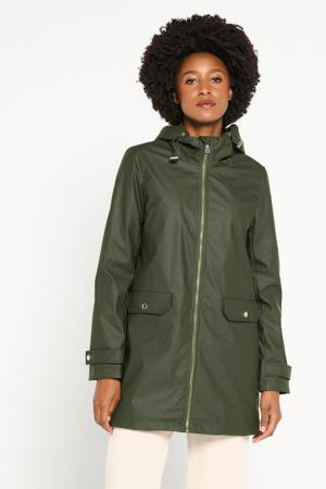 coated jas met imitatiebont gevoerd in donkergroen