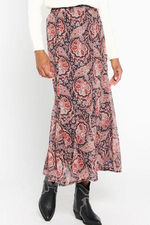 semi-transparante rok met paisleyprint zwart/rood/donkerrood