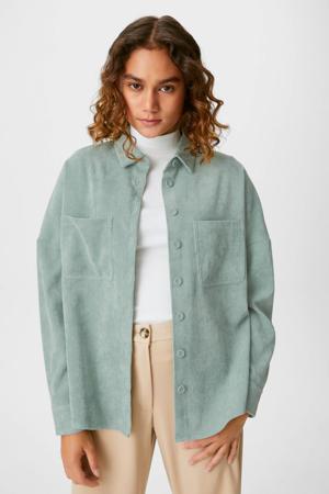 corduroy blouse met plooien groen