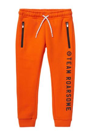 regular fit broek met tekst oranje