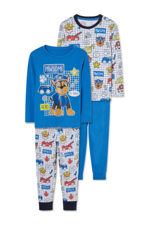 Paw Patrol pyjama met all over print blauw/grijs