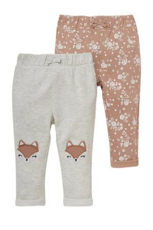 sweatpants - set van 2 grijs/roze