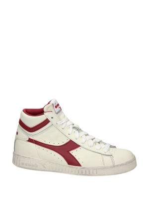 Game L High  hoge leren sneakers off white/rood