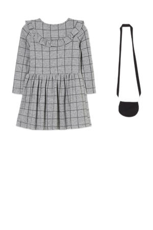 geruite off shoulder jurk grijs