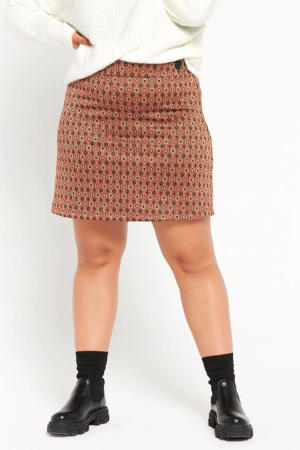 gebreide mini rok met grafische print bruin