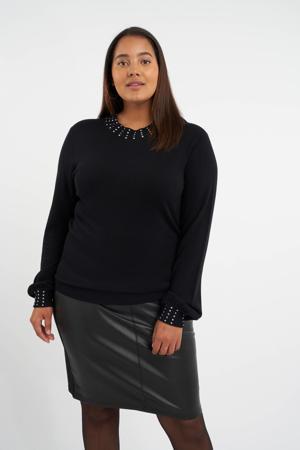 gebreide trui met strass steentjes zwart