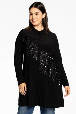 wijdvallende blouse met pailletten DOLCE zwart