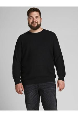 trui JJEAARON Plus Size met textuur black