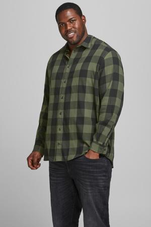 geruit regular fit overhemd JJEGINGHAM Plus Size dusty olive