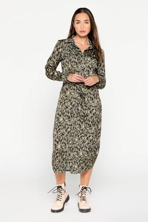 jurk met dierenprint en ceintuur groen