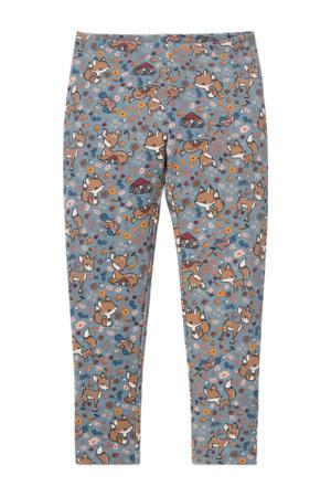 legging met all over print blauw/beige