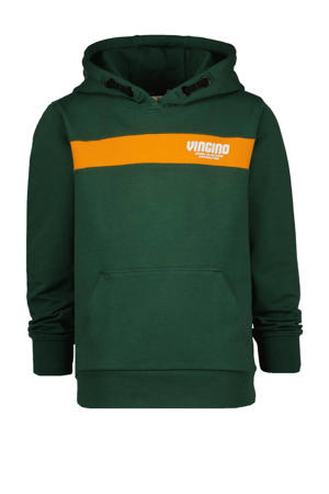 hoodie Naud met logo donkergroen/oranje