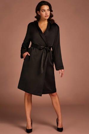 satijnlook badjas met fleecevoering zwart