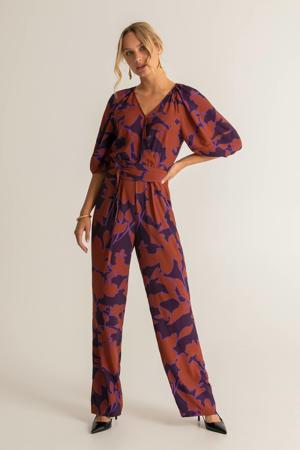 jumpsuit met all over print paars/lila/koraalrood