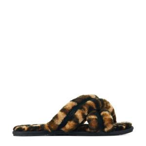 Scuffita pantoffels met panterprint bruin