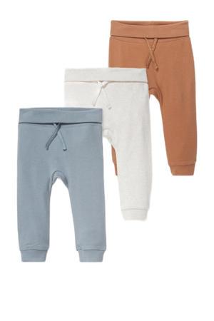 baby broek - set van 3 blauw/wit/camel