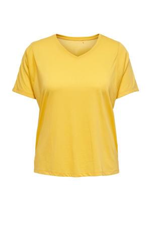 Plus Size sport T-shirt ONPMEE geel