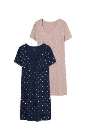 zwangerschaps nachthemd - set van 2 donkerblauw/roze