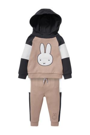 sweatpants + hoodie beige/zwart/wit