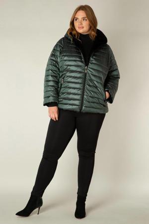 reversible gewatteerde jas groen/zwart