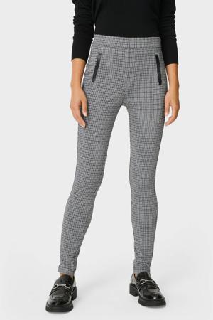 geruite high waist skinny pantalon zwart/wit