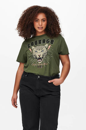 T-shirt CARMALTANA met printopdruk donkergroen/multi