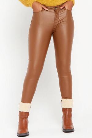 imitatieleren skinny broek bruin