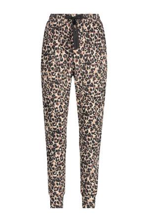 pyjamabroek met panterprint beige/bruin/zwart