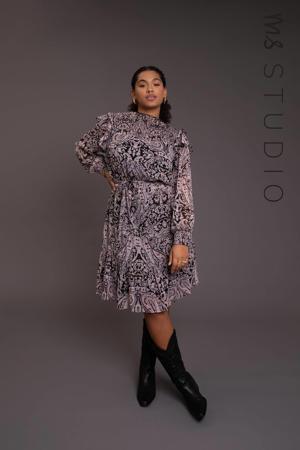semi-transparante jurk met paisleyprint en ruches multi