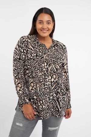 blouse met all over print zwart/beige/wit