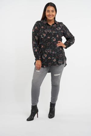 blouse met paisleyprint zwart/groen/roze