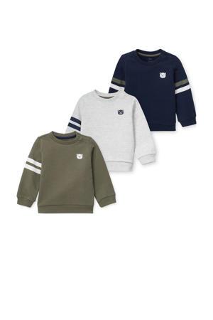sweater - set van 3 kaki/grijs/donkerblauw