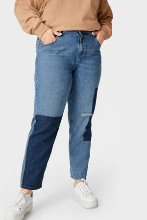 cropped straight fit jeans blauw