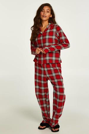 geruite pyjama + slaapmasker rood/wit/zwart