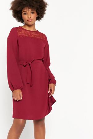 jurk met kant donkerrood