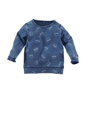 baby longsleeve Snapper met all over print donkerblauw
