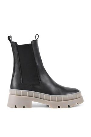 Nora  leren chelsea boots zwart/taupe