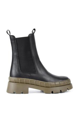 Nora  leren chelsea boots zwart/kaki