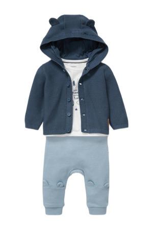 vest + longsleeve + broek blauw/wit