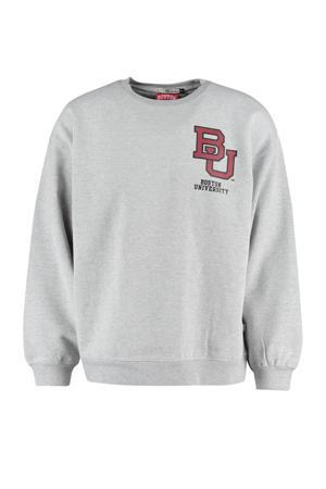 sweater met printopdruk mid grey melange