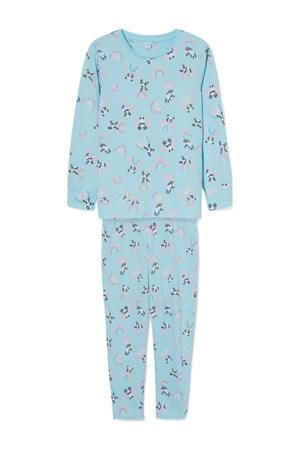 pyjama met dierenprint lichtblauw
