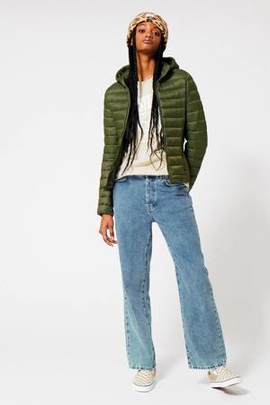gewatteerde jas Jacky Hood van gerecycled polyester groen