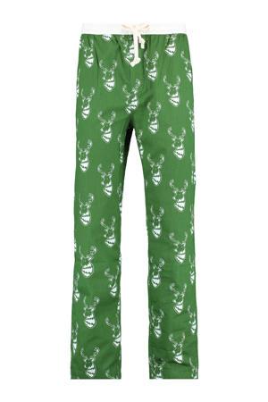 pyjamabroek Lake X met all over kerst print groen/wit