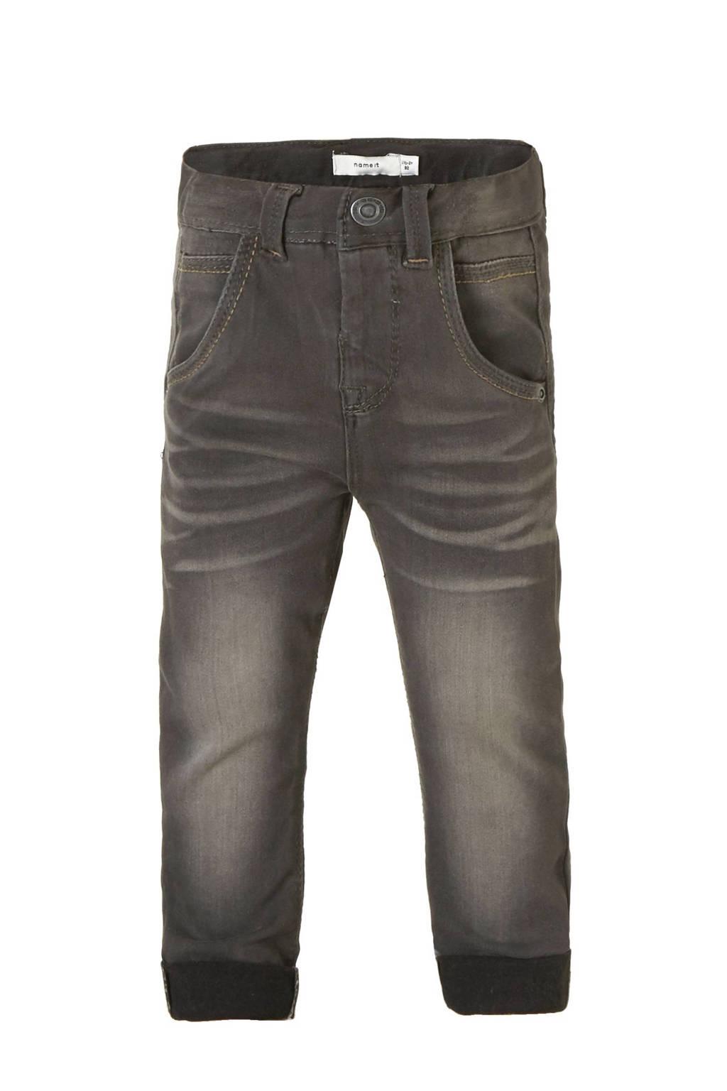name it MINI Nittamo x-slim fit jeans, Dark grey denim