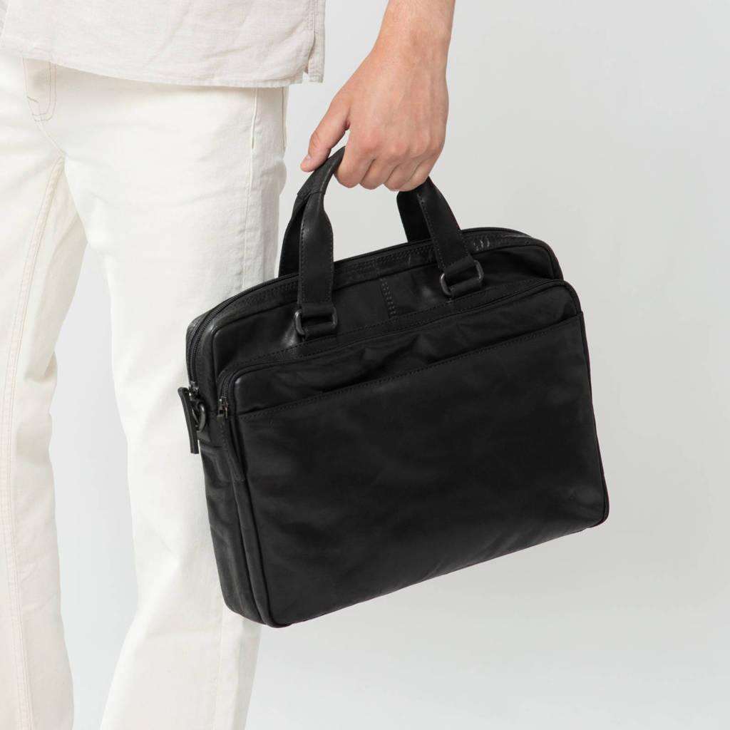 Manfield  15 inch leren laptoptas zwart, Zwart