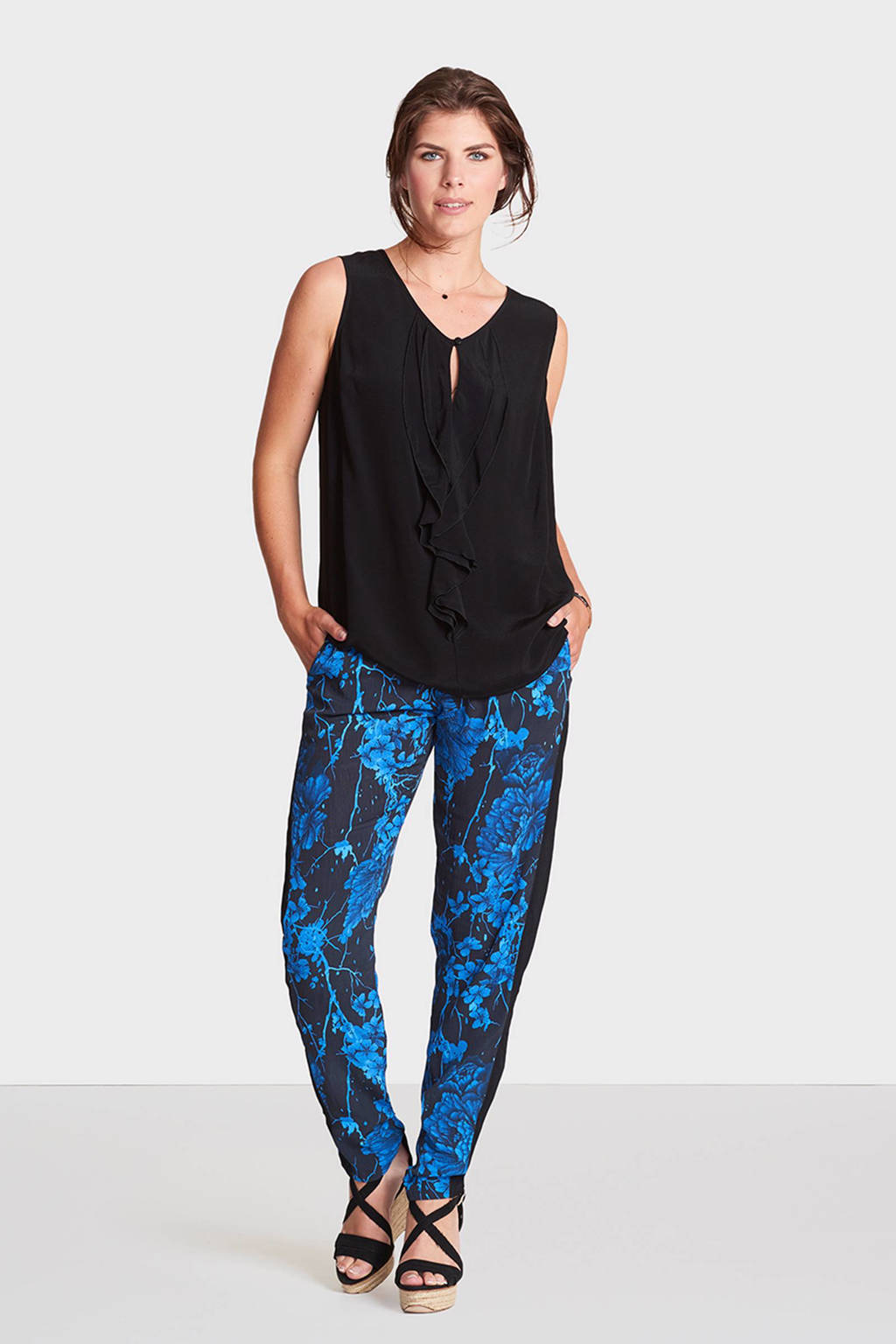 Miss Etam Regulier loose fit broek, Zwart/donkerblauw
