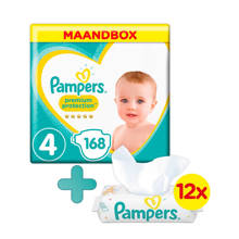 Premium Protection maandbox maat 4 (9-14 kg) 168 luiers + Sensitive babydoekjes