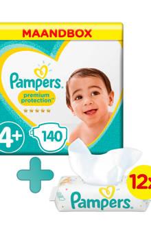 Premium Protection maandbox maat 4+ (10-15 kg) 140 luiers + Sensitive babydoekjes