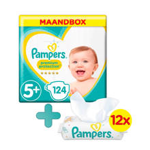 Premium Protection maandbox maat 5+ (12-17kg) 124 luiers + Sensitive babydoekjes