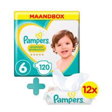 Premium Protection maandbox maat 6 (13+ kg) 120 luiers + Sensitive babydoekjes
